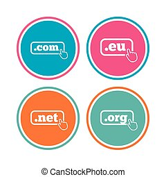 Top-level domains signs. Com, Eu, Net and Org. - Top-level...