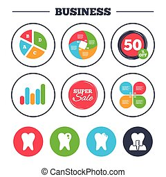 Dental care icons. Caries tooth and implant. - Business pie...