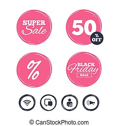 Wifi and chat bubbles. Add user, megaphone. - Super sale and...