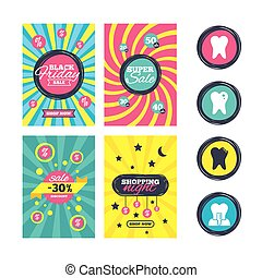 Dental care icons. Caries tooth and implant. - Sale website...