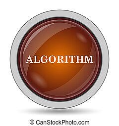 Algorithm icon, orange website button on white background.