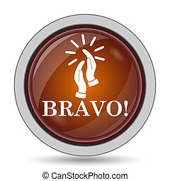Bravo icon, orange website button on white background.