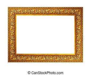 beautiful gold plated wooden frame isolated on white...