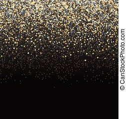 Gold glitter black background. - Vector luxury black...