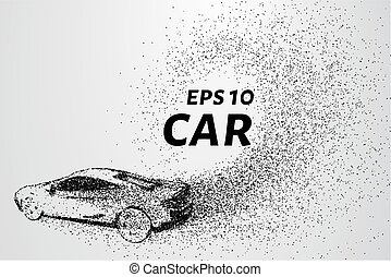 Car from the particles. Car consists of small circles and...