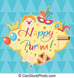 Happy Purim, template greeting card, poster, flyer, frame...