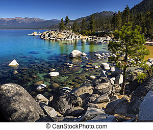 Sand Harbor, Lake Tahoe, Nevada on a sunny day with blue sky...