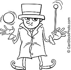 wizard or elf coloring page - Black and White Cartoon...
