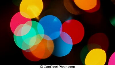 Festive Christmas background of defocused decorated xmas tree bokeh christmas composition