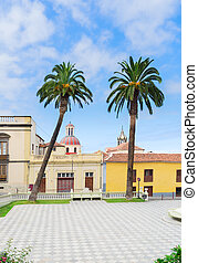 La Orotava, Tenerife village - square of empty Ayntamento in...