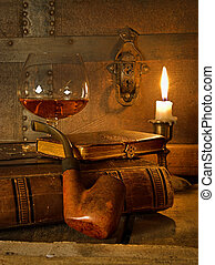 Cognac and pipe - The good life, cognac, book and pipe