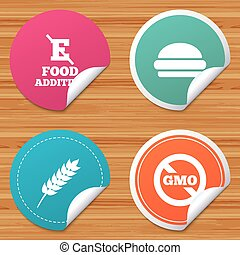 Food additive icon. Hamburger fast food sign. - Round...