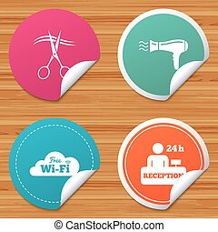 Hotel services icon. Wi-fi, Hairdryer. - Round stickers or...
