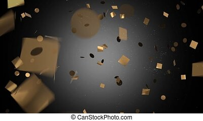 Gold confetti in black on a white background HD