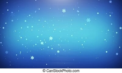 The flying snowflakes on blue background