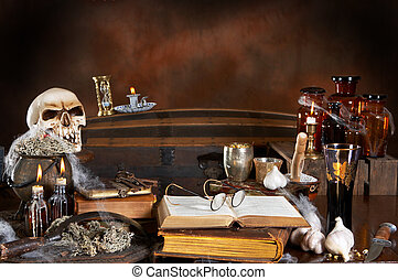 Witch kitchen - Halloween witchs kitchen, with skull, poison...