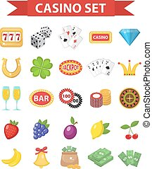 Casino icons, flat style. Gambling set isolated on a white background. Poker, card games, one-armed bandit, roulette collection of design elements. Vector illustration, clip art.