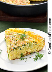Omelette with cheese and zucchini - Omelette with herbs,...