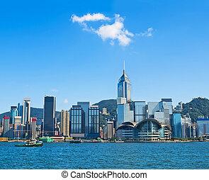 hong kong skyline on sunny day - view of Hong Kong...