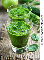 Vegetable spinach smoothie, juice decorated parsley