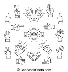 Cartoon outline signs of one hand and two hands. Lined...