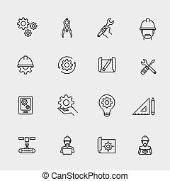 Engineering simple icons. Machine engineers and architect engineer work tools vector signs