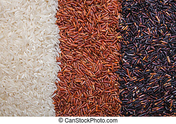 red, black and white rice background or texture