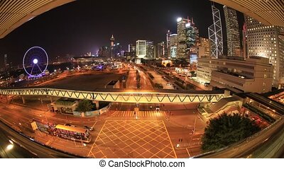 Hong Kong fisheye view - Spectacular aerial view of...