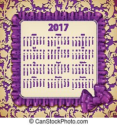 Elegant template of calendar - Elegant template for 2017...
