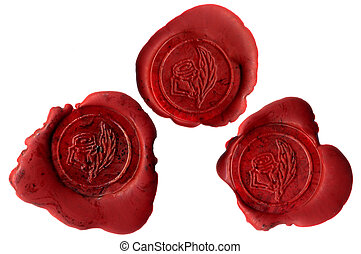 Rose seals - Three real wax seals with roses; these are...