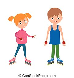 Cute young girl and boy in roller skates vector. - Roller...
