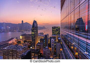 Hong Kong aerial by night