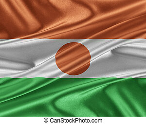 Niger flag with a glossy silk texture. - Niger flag. Flag...