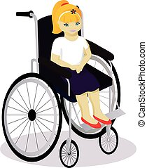 little girl with disabilities in a wheelchair vector...