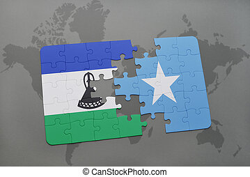 puzzle with the national flag of lesotho and somalia on a...