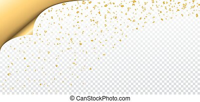 Gold white transparent background - Gold confetti on white...