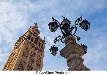 cattedrale, tramonto, Spagna, Siviglia
