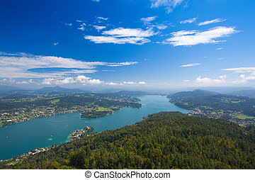 Pyramidenkogel, view of the Lake Worthersee, Carinthia,...