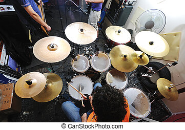 music band have training in garage - young music player and...