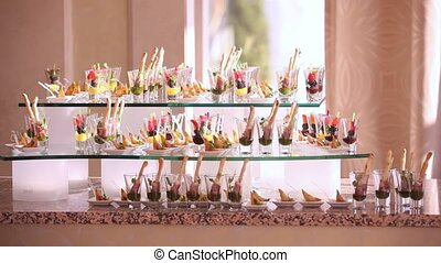 Wedding party buffet with canape