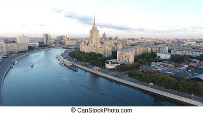 Tourist boats floats on the Moskva River in Moscow in...