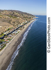 Malibu Beach Mansions Aerial - Aerial of large affluent...
