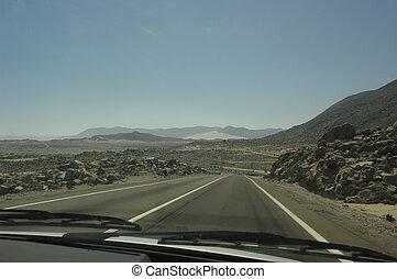 Endless highway in the desert