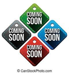Coming soon hangtag vector set