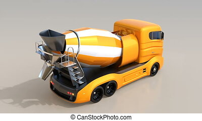 3D animation of self-driving electric concrete mixer truck.