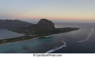 Le Morne Brabant mountain, aerial Mauritius - Aerial shot of...