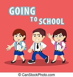 students going to school
