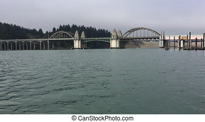 Siuslaw River Bridge from the Florence Marina Oregon USA
