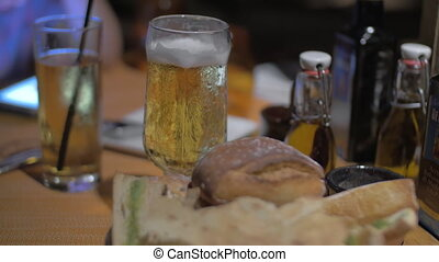 Beer and different bread kinds as snack