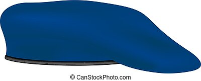 Beret in dark blue design on white background